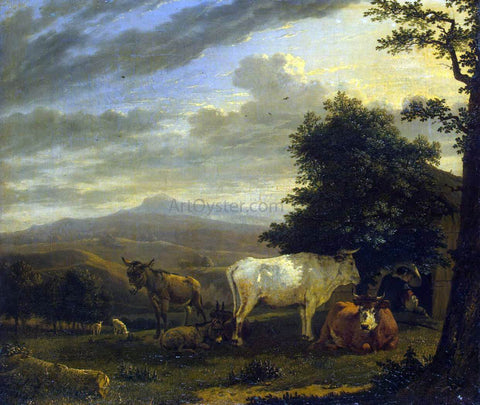 Karel Dujardin Landscape with Cattle - Hand Painted Oil Painting