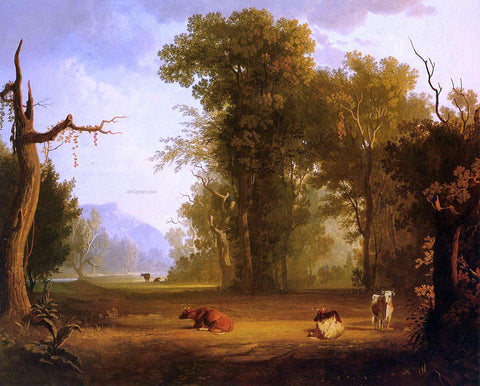 George Caleb Bingham Landscape with Cattle - Hand Painted Oil Painting