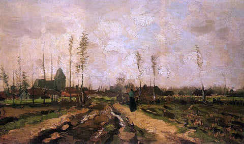 Vincent Van Gogh Landscape with Church and Farms - Hand Painted Oil Painting