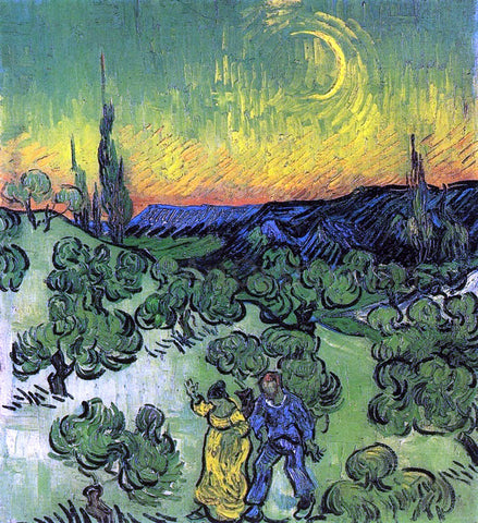 Vincent Van Gogh Landscape with Couple Walking and Crescent Moon - Hand Painted Oil Painting
