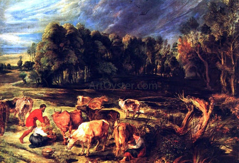 Peter Paul Rubens Landscape with Cows - Hand Painted Oil Painting