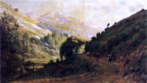 Thaddeus Welch Landscape with Cows - Hand Painted Oil Painting