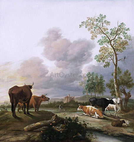 Anthonie Van Borssum Landscape with Cows and Sheep - Hand Painted Oil Painting