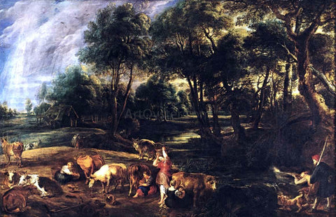 Peter Paul Rubens Landscape with Cows and Wildfowlers - Hand Painted Oil Painting