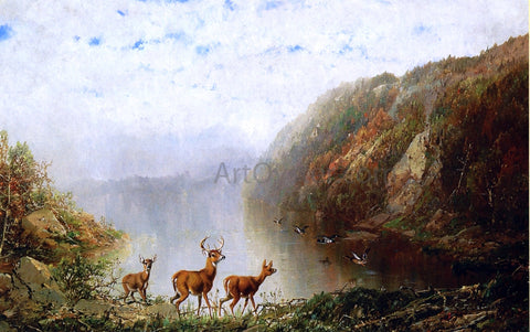 Herman Herzog Landscape with Deer and Ducks - Hand Painted Oil Painting