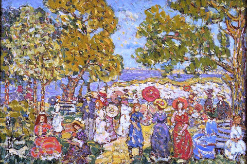 Maurice Prendergast Landscape with Figures - Hand Painted Oil Painting