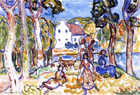 Maurice Prendergast Landscape with Figures and Goat - Hand Painted Oil Painting