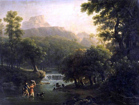 Jean-Joseph-Xavier Bidauld Landscape with Figures Crossing a River - Hand Painted Oil Painting