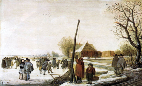 Barend Avercamp Landscape with Frozen River - Hand Painted Oil Painting