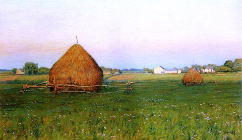 Henry Golden Dearth Landscape with Haystacks - Hand Painted Oil Painting