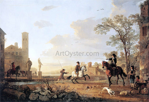 Aelbert Cuyp Landscape with Horse Trainers - Hand Painted Oil Painting
