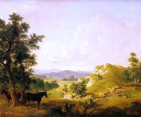 Thomas Hewes Hinckley Landscape with Horses - Hand Painted Oil Painting