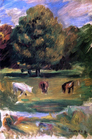 Pierre Auguste Renoir Landscape with Horses - Hand Painted Oil Painting