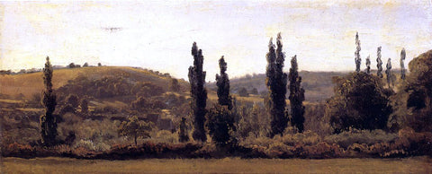 Theodore Rousseau Landscape with Poplars - Hand Painted Oil Painting