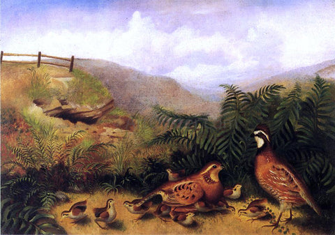 Rubens Peale Landscape with Quail - Cock, Hen and Chickens - Hand Painted Oil Painting