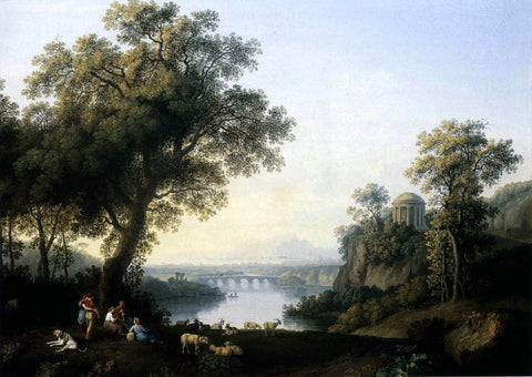 Jacob Philipp Hackert Landscape with River - Hand Painted Oil Painting