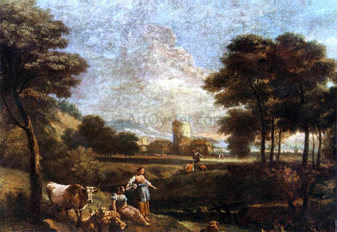 Giuseppe Zais Landscape with Shepherds and Fishermen - Hand Painted Oil Painting