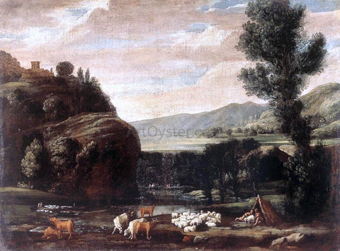 Pietro Paolo Bonzi Landscape with Shepherds and Sheep - Hand Painted Oil Painting
