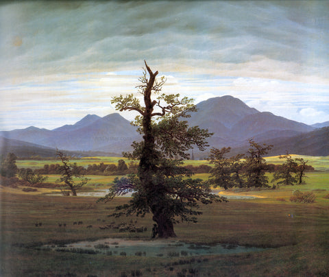 Caspar David Friedrich Landscape with Solitary Tree - Hand Painted Oil Painting