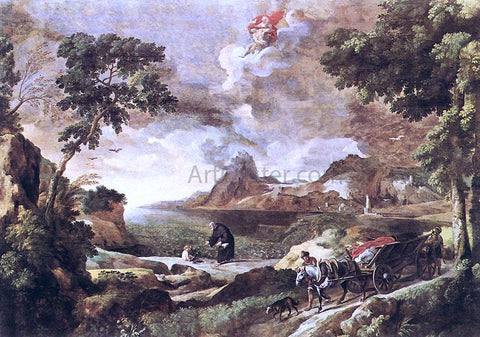Gaspard Dughet Landscape with St Augustine and the Mystery - Hand Painted Oil Painting