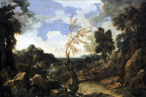 Gaspard Dughet Landscape with St Jerome and the Lion - Hand Painted Oil Painting
