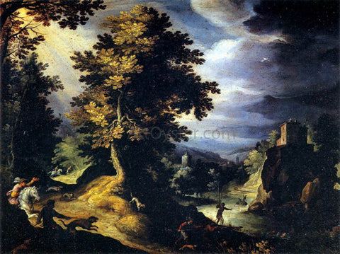 Paul Bril Landscape with Stag Hunt - Hand Painted Oil Painting