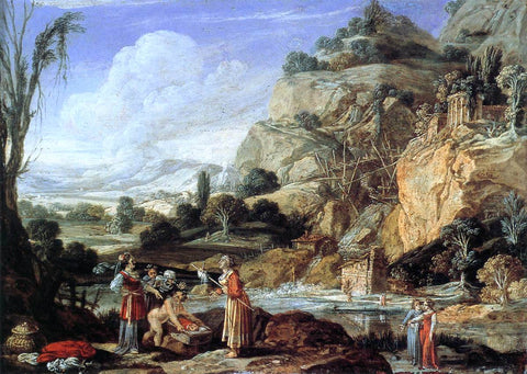 Bartholomeus Breenbergh Landscape with the Finding of Moses - Hand Painted Oil Painting