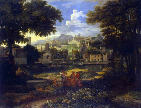 Etienne Allegrain Landscape with the Finding of Moses - Hand Painted Oil Painting