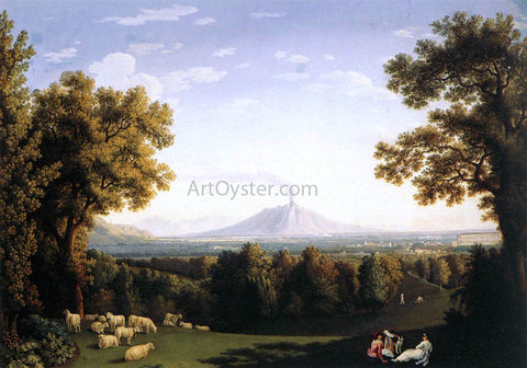 Jacob Philipp Hackert Landscape with the Palace of Caserta and Vesuvius - Hand Painted Oil Painting