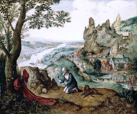 Lucas Gassel Landscape with the Penitent St Jerome - Hand Painted Oil Painting