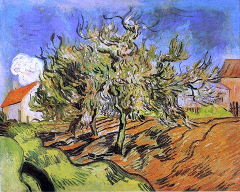 Vincent Van Gogh Landscape with Three Trees and a House - Hand Painted Oil Painting