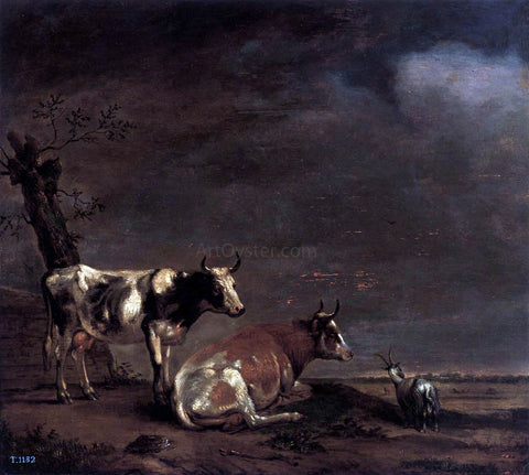 Paulus Potter Landscape with Two Cows and a Goat - Hand Painted Oil Painting