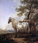 Nicolaes Berchem A Landscape with Two Horses - Hand Painted Oil Painting