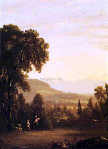 Sanford Robinson Gifford Landscape with Village in the Distance - Hand Painted Oil Painting
