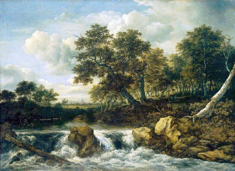 Jacob Van Ruisdael Landscape with Waterfall - Hand Painted Oil Painting