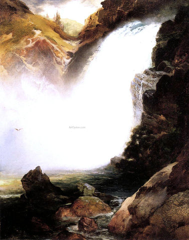 Thomas Moran Landscape with Waterfall - Hand Painted Oil Painting