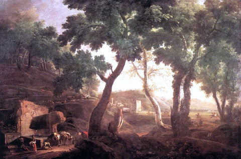 Marco Ricci Landscape with Watering Horses - Hand Painted Oil Painting