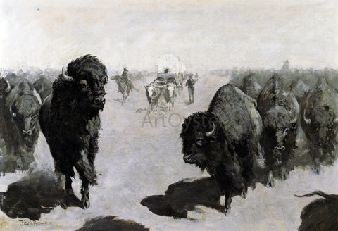 Frederic Remington Lane through the Buffalo Herd - Hand Painted Oil Painting