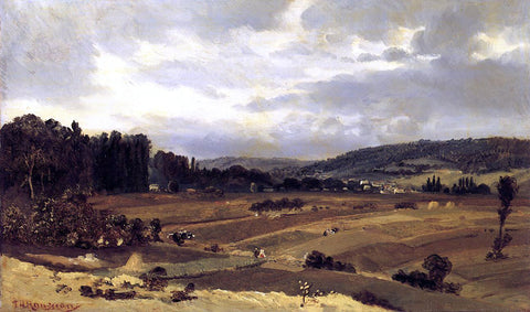 Theodore Rousseau Lanscape with Farmland - Hand Painted Oil Painting