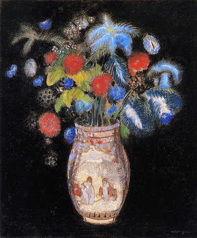 Odilon Redon Large Bouquet on a Black Background - Hand Painted Oil Painting
