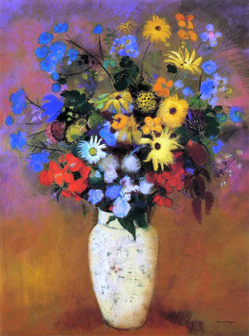 Odilon Redon Large Bouquet in a Japanese Vase - Hand Painted Oil Painting