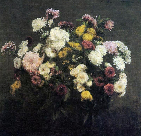 Henri Fantin-Latour Large Bouquet of Crysanthemums - Hand Painted Oil Painting