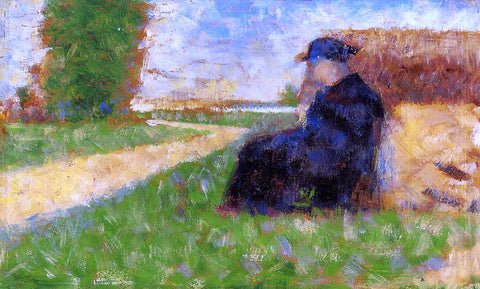 Georges Seurat Large Figure in a Landscape - Hand Painted Oil Painting