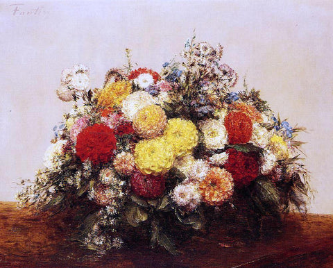 Henri Fantin-Latour Large Vase of Dahlias and Assorted Flowers - Hand Painted Oil Painting