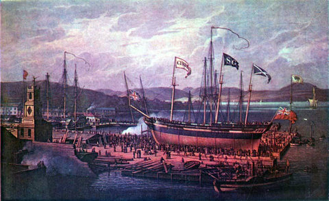 Robert Salmon Launch of the S.S. Christian - Hand Painted Oil Painting