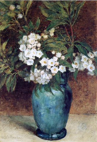 Thomas Worthington Whittredge Laurel Blossoms in a Blue Vase - Hand Painted Oil Painting