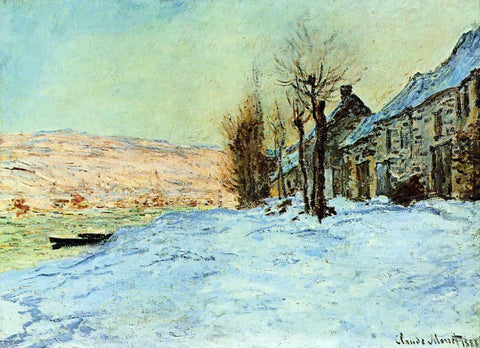 Claude Oscar Monet Lavacourt, Sun and Snow - Hand Painted Oil Painting