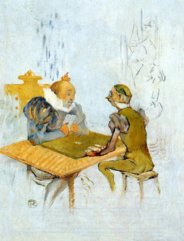 Henri De Toulouse-Lautrec Le Belle et la Bete - Le Besigue - Hand Painted Oil Painting