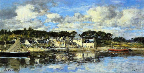 Eugene-Louis Boudin Le Faou: The Village and the Port on the River - Hand Painted Oil Painting