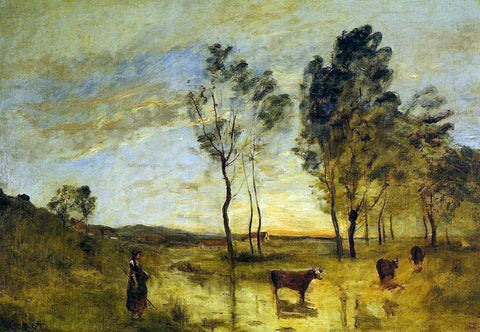 Jean-Baptiste-Camille Corot Le Gue (also known as Cows on the Banks of the Gue) - Hand Painted Oil Painting